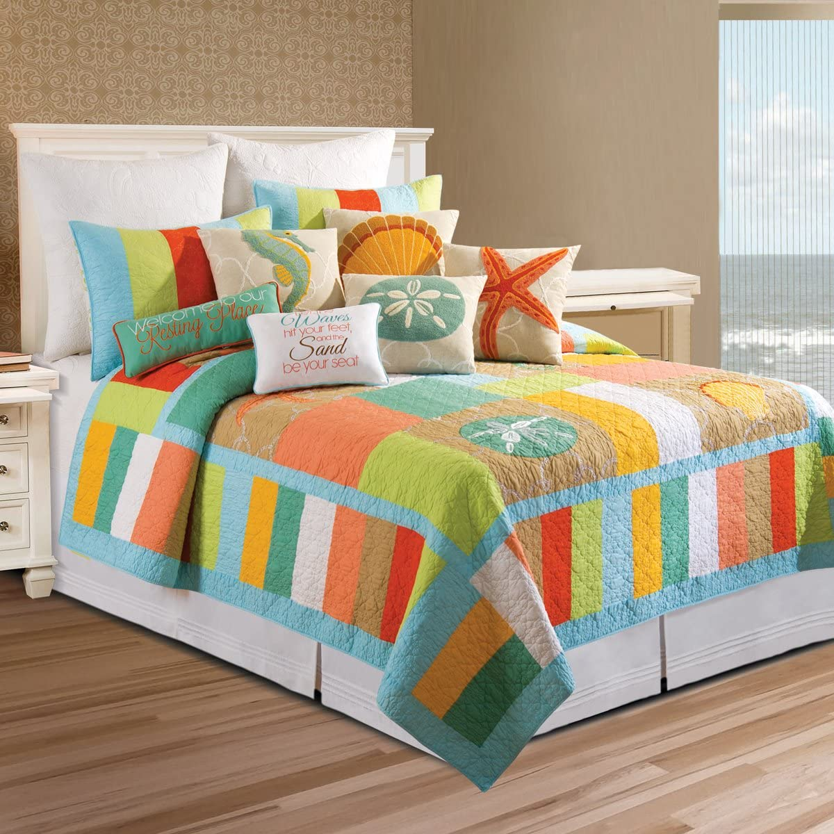 C&F Home 89989.8686 Washed Ashore for Q Quilt, Full/Queen, Blue