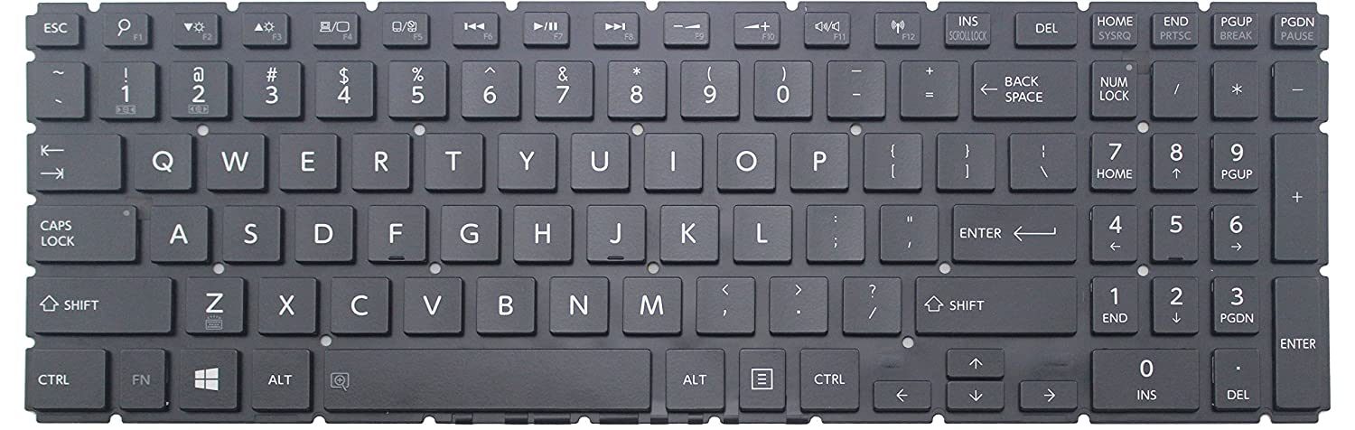 Goparts-Online Laptop Replacement keyboard with backlit for Toshiba Satellite S55-B5268 S55-B5269 S55-B5280 S55-B5289 S55-B5292 , US layout glossy black ...