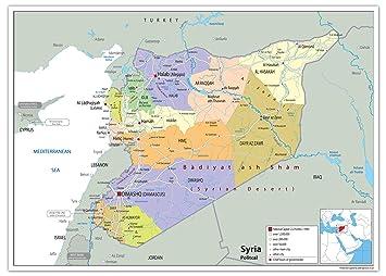 Karte Syrien.Politische Karte Von Syrien Papier Laminiert Ga A2 Size 42 X