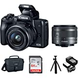 "Canon EOS M50 15-45mm Mirrorless Digital Camera (Black) with Canon EOS Camera Gadget Bag, 64GB SD Card, Flexible 12"" Spider T"