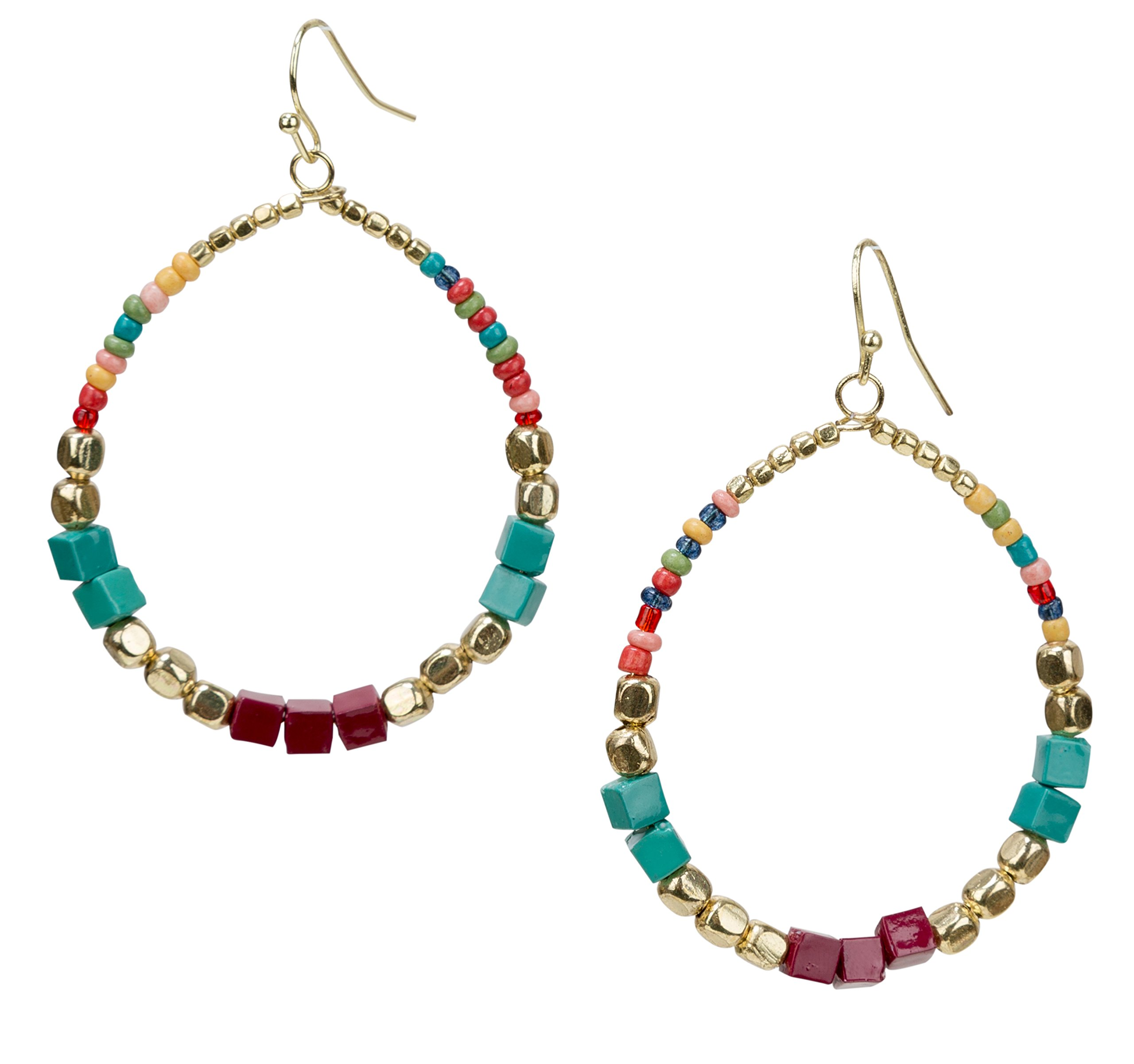 Bohemian Multi-Colored Cube Beaded Hoop Earrings for Women | SPUNKYsoul Collection (Teal/Red/Cube)