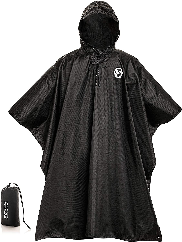 Emergency Hooded Plastic Poncho Festival Waterproof Raincoat Reusable Camping