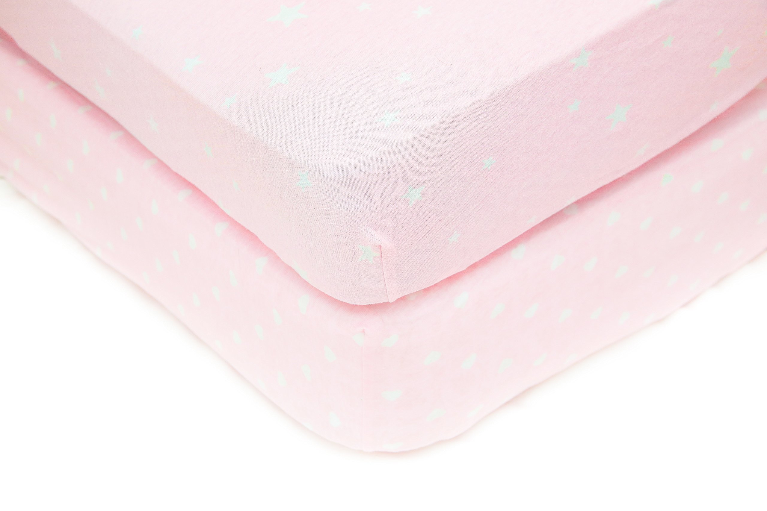 Sugar & Spice – 2 Pack Fitted 100% Jersey Cotton Crib or Toddler Sheet Set, For Baby Girls Pink And White, Hearts And Stars