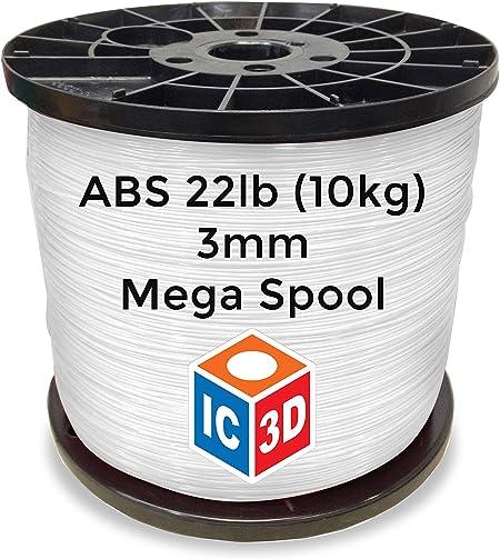 NATURAL PLA 3D Printer Filament 1kg MADE IN USA IC3D 1.75mm 2.2lb