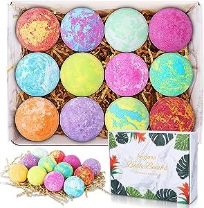 ANGKMA Bath Bombs 12pcs Handmade Bubble Bath Bomb Gift Set, shea Butter, Grape Seed Oil, moisturizing Dry Skin, is The Perfect Gift idea for Women.