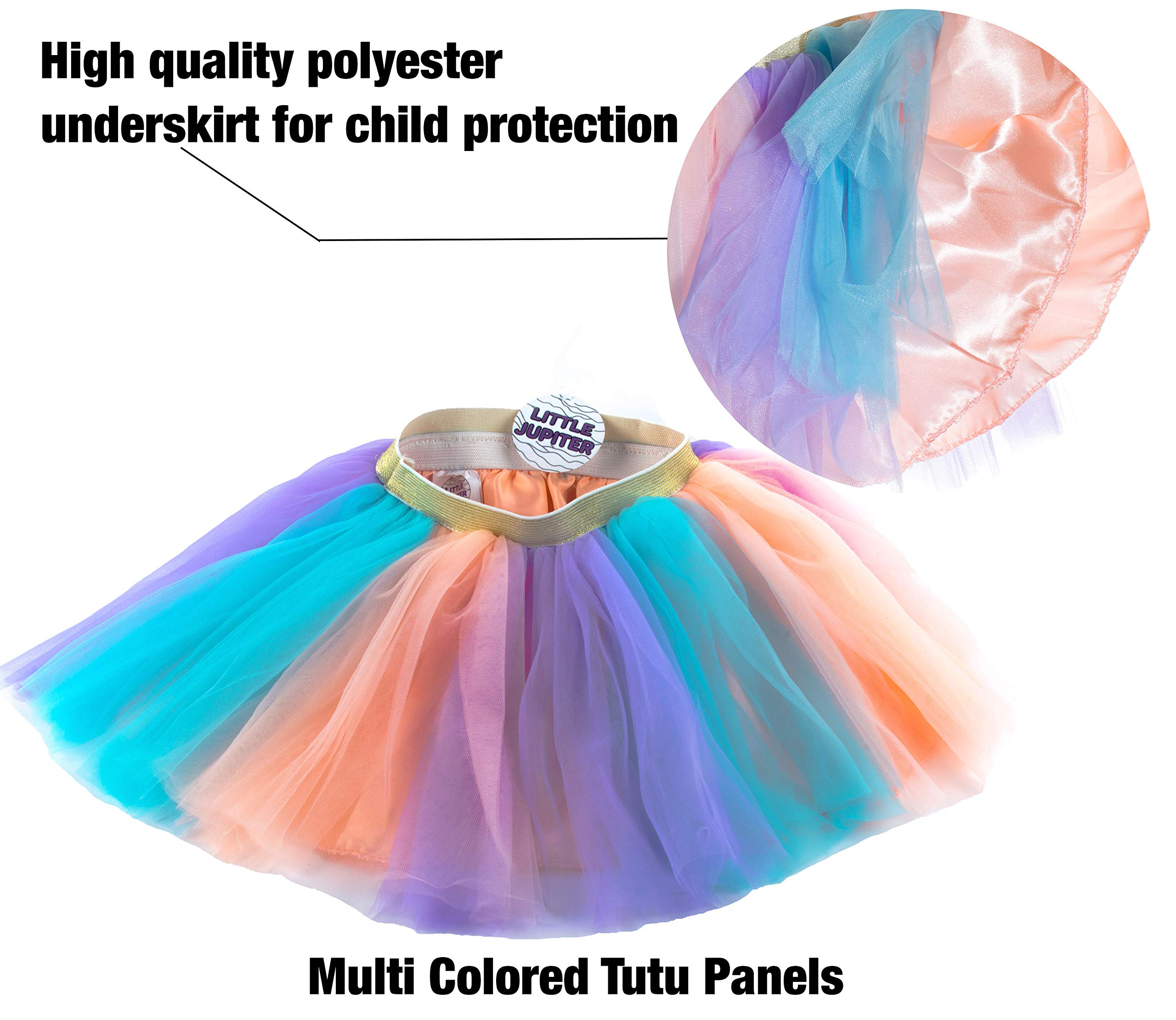 Little Jupiter Premium Girls Rainbow Unicorn Tutu Set 4PC Layered Dress for Age 2-8 Years Costume Unicorn Party 5