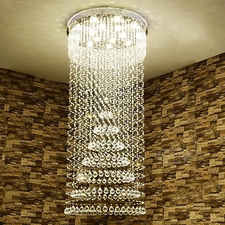iluminación Lámpara De Escalera De Espiral Lámpara De Cristal, Edificio De Piso Duplex Villa Lámpara De Sala De Gran Salón Led las luces interiores (Tamaño : 16lights/90*210cm) : Amazon.es: Hogar