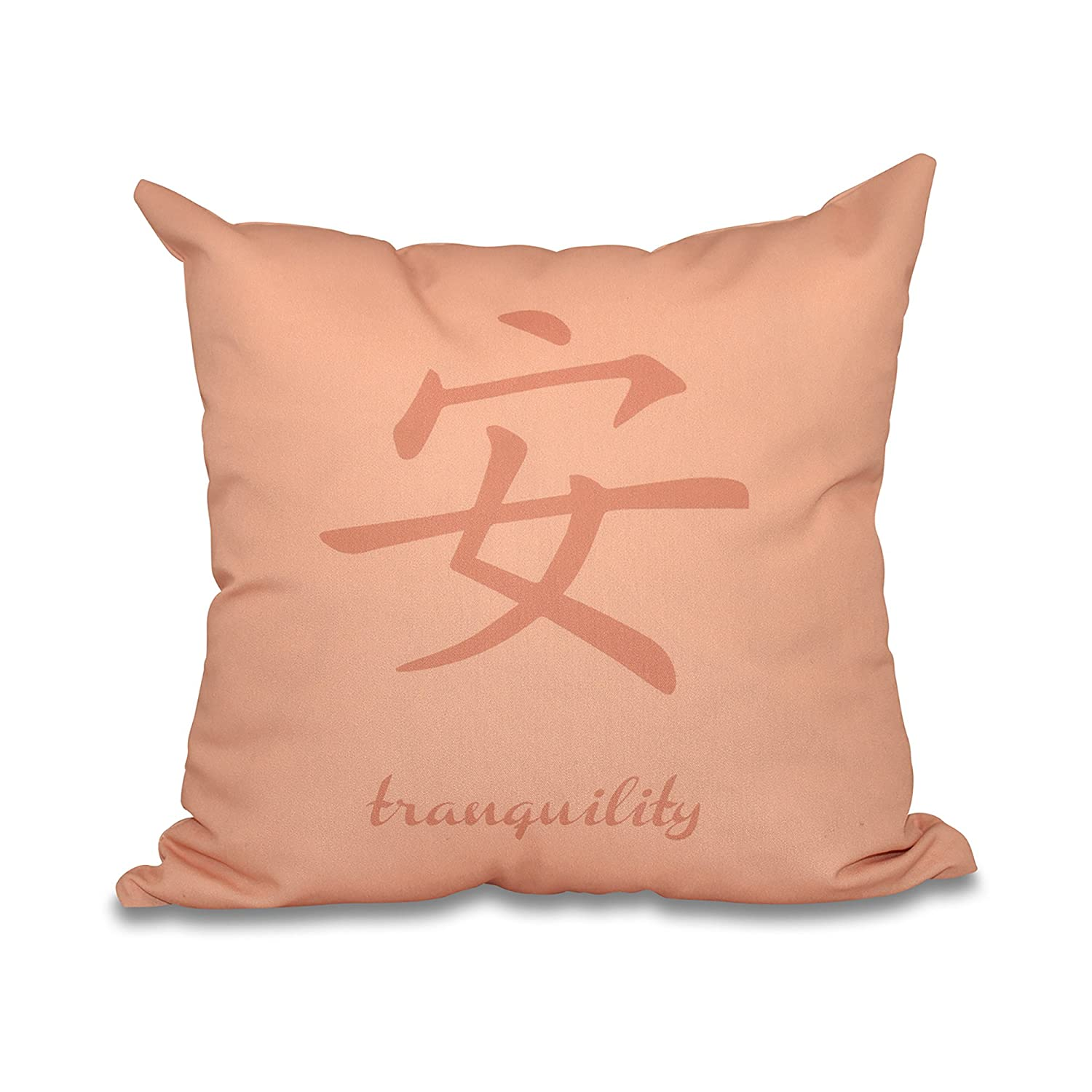 Coral 18x18 Orange Word Print Pillow E by design PWN510OR4OR10-18 18 x 18-inch,Tranquility red