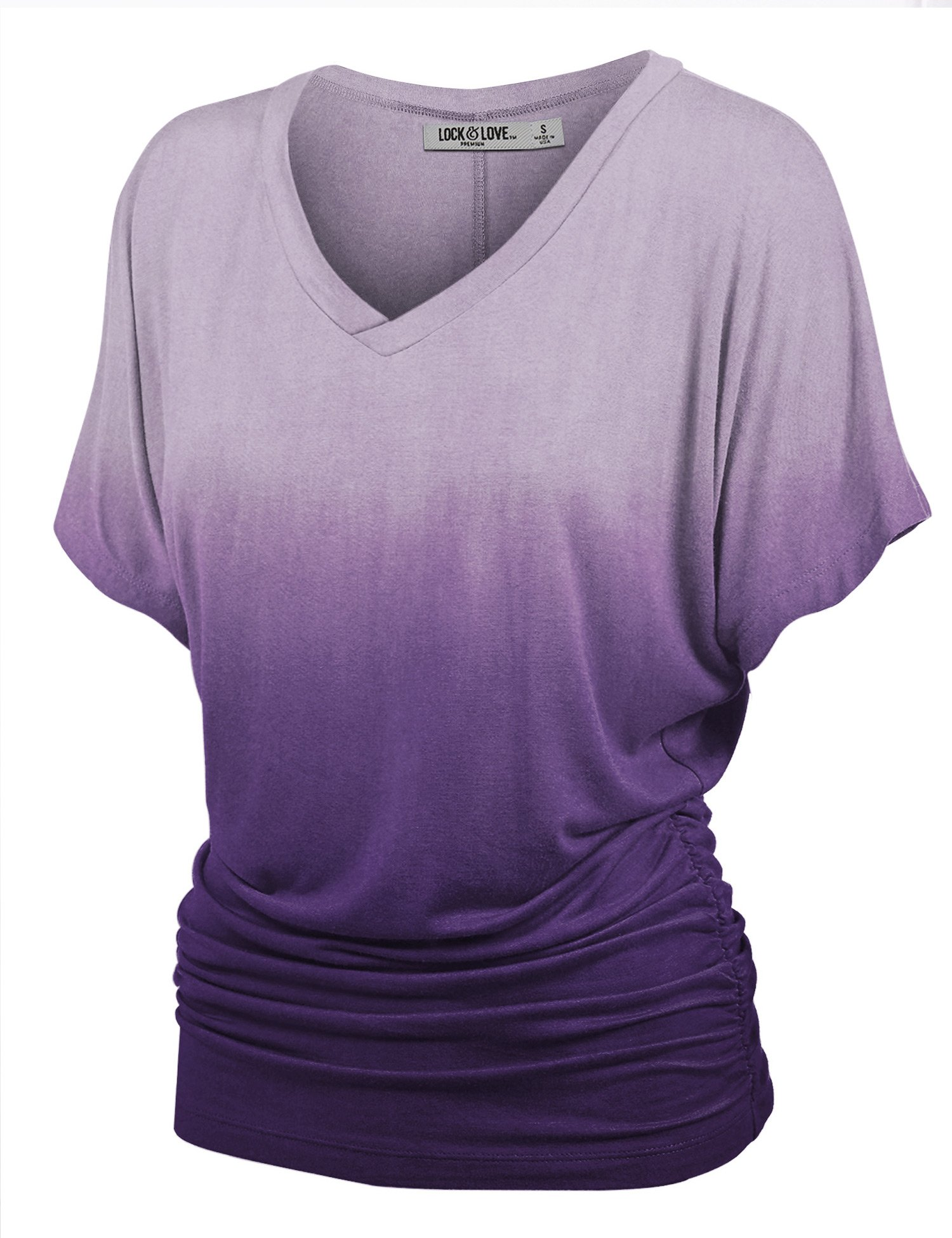WT1115 Womens V Neck Short Sleeve Dip Dye Dolman Top with Side Shirring S Purple