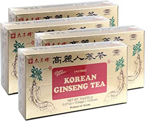 Prince of Peace Korean Ginseng Tea(Instant) 0.07 Oz X 10 Bags X 10 Boxes (4)