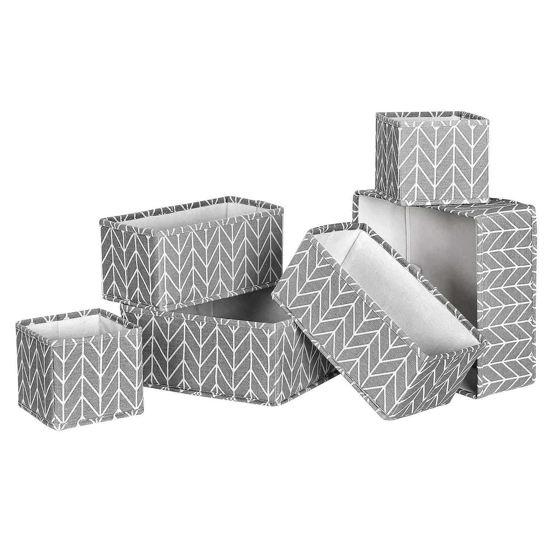 Divisores de Vestido Sostenes Ropa Interior Cajas de Almacenaje de Tela Plegables para Calcetines Corbatas SONGMICS Organizadores de Cajones Bufandas Juego de 6 Gris RTDZ06G