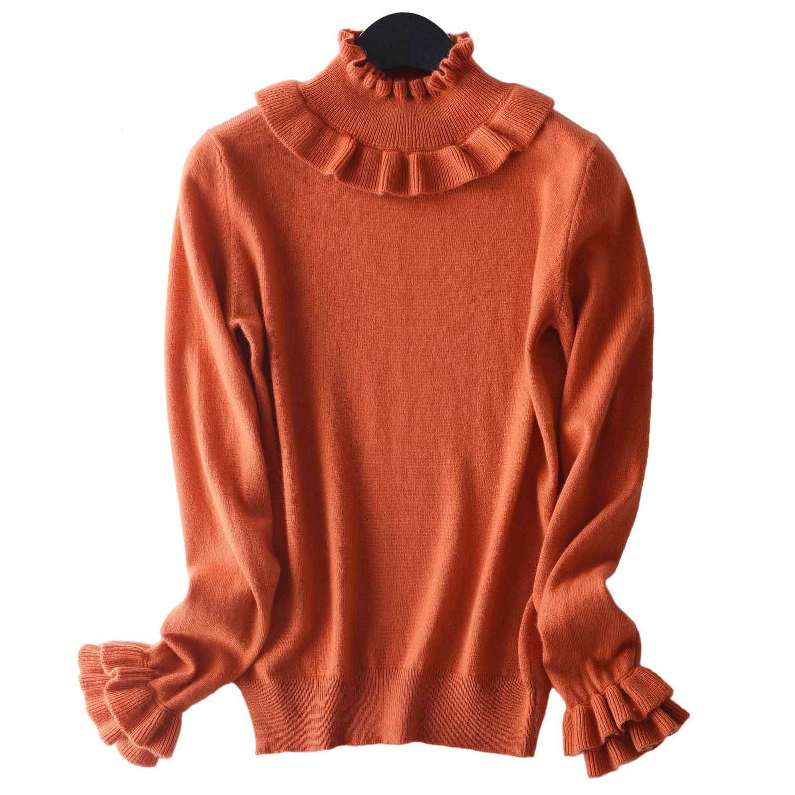 FINCATI Cashmere Sweaters Women Fluffy Soft Pure Cashmere Wool Lolita Ruffled Style Stocks Clearing Sales (M, Orange)