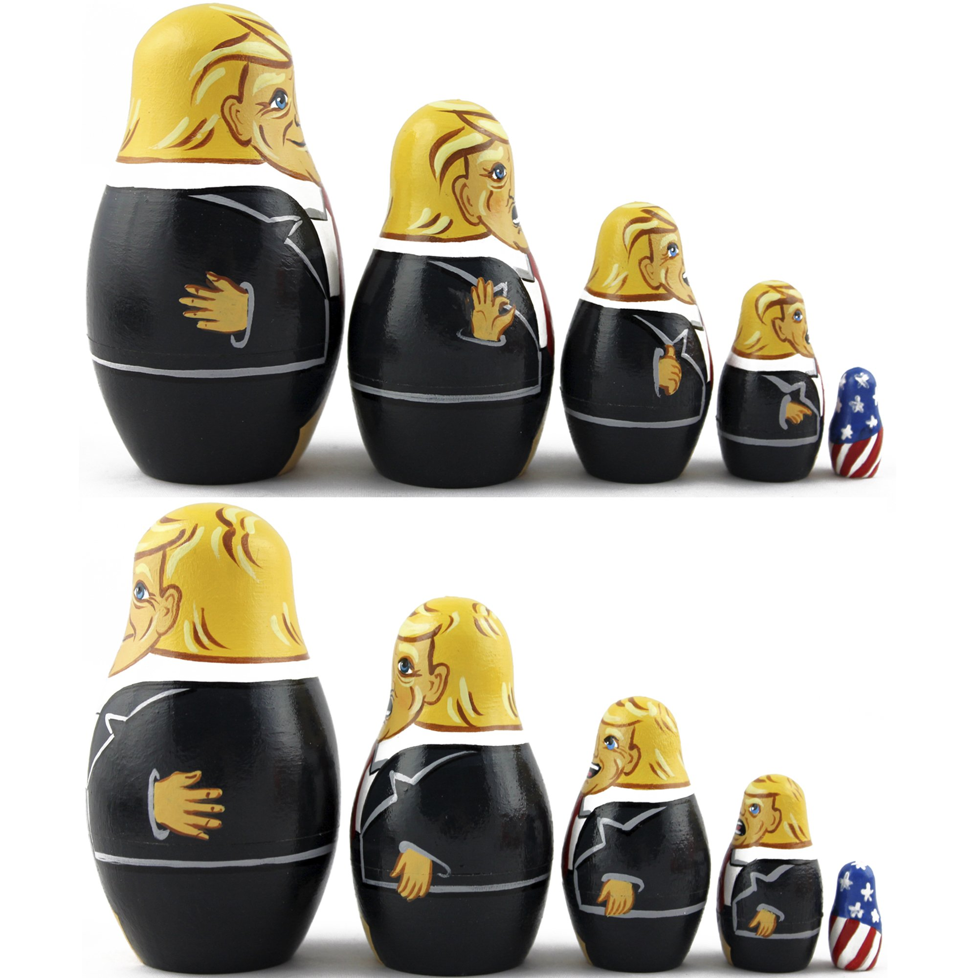 Donald Trump Gifts - Donald Trump Funny Toy Doll - Trump Nesting Dolls Gag Gifts - Set 5 pc 3.7 inches by MATRYOSHKA&HANDICRAFT (Image #3)