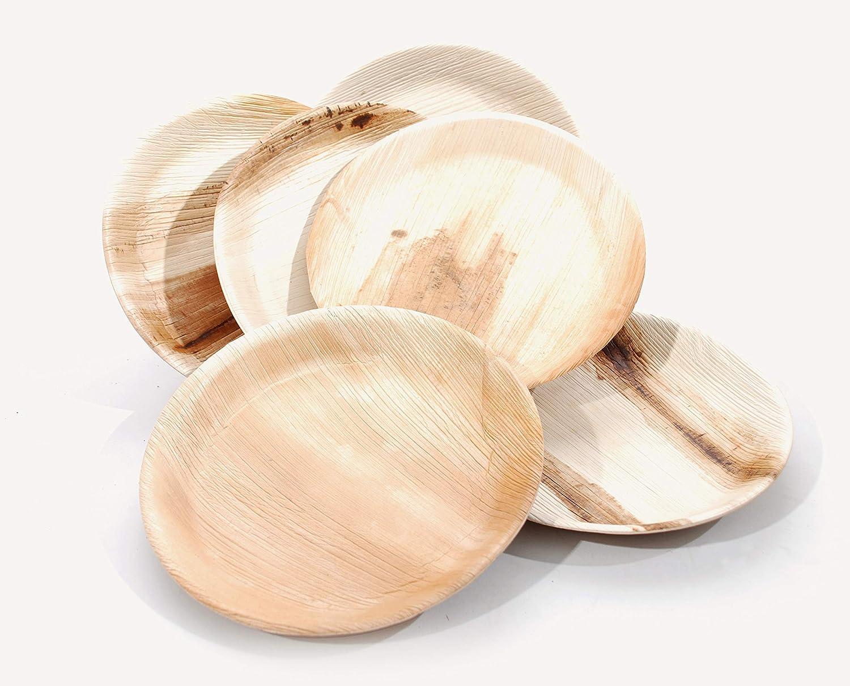 camping assiettes jetables pour f/ête biod/égradable /écologique mariage Lush Tree Assiette ronde 23 cm 200 pi/èces compostable