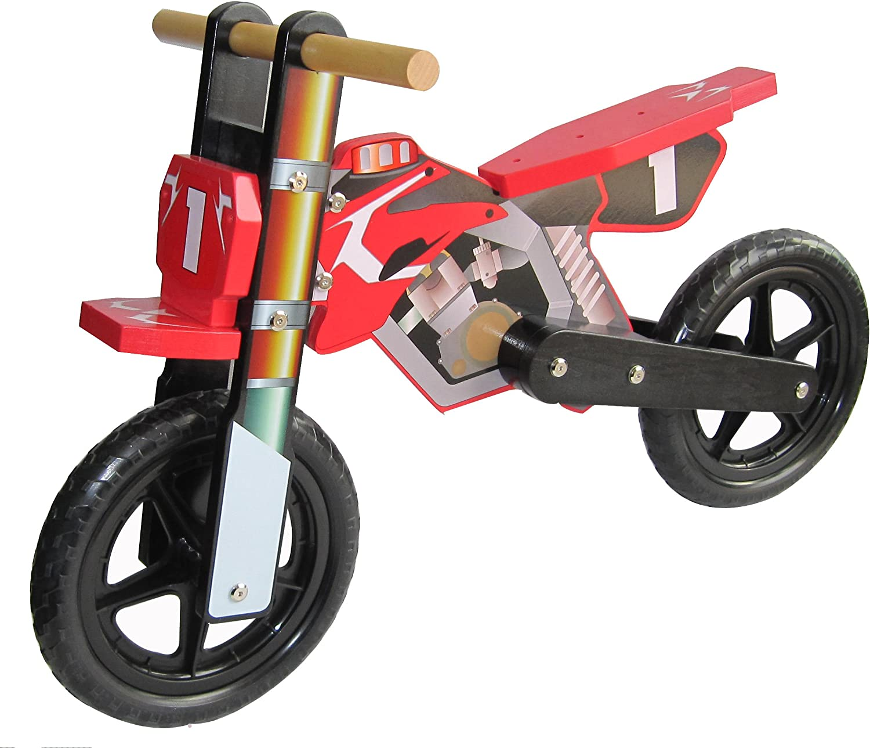 Dunjo® Bicicleta Infantil de Madera, Moto Cross Pro roja