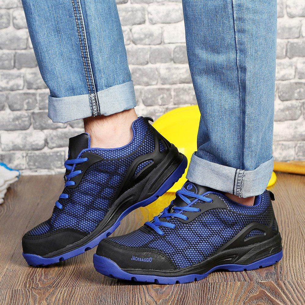 JACKBAGGIO Men's Athletic Steel Toe Breathable Mesh Lightweight Work Shoes (10.5, Blue) by JACKBAGGIO (Image #6)