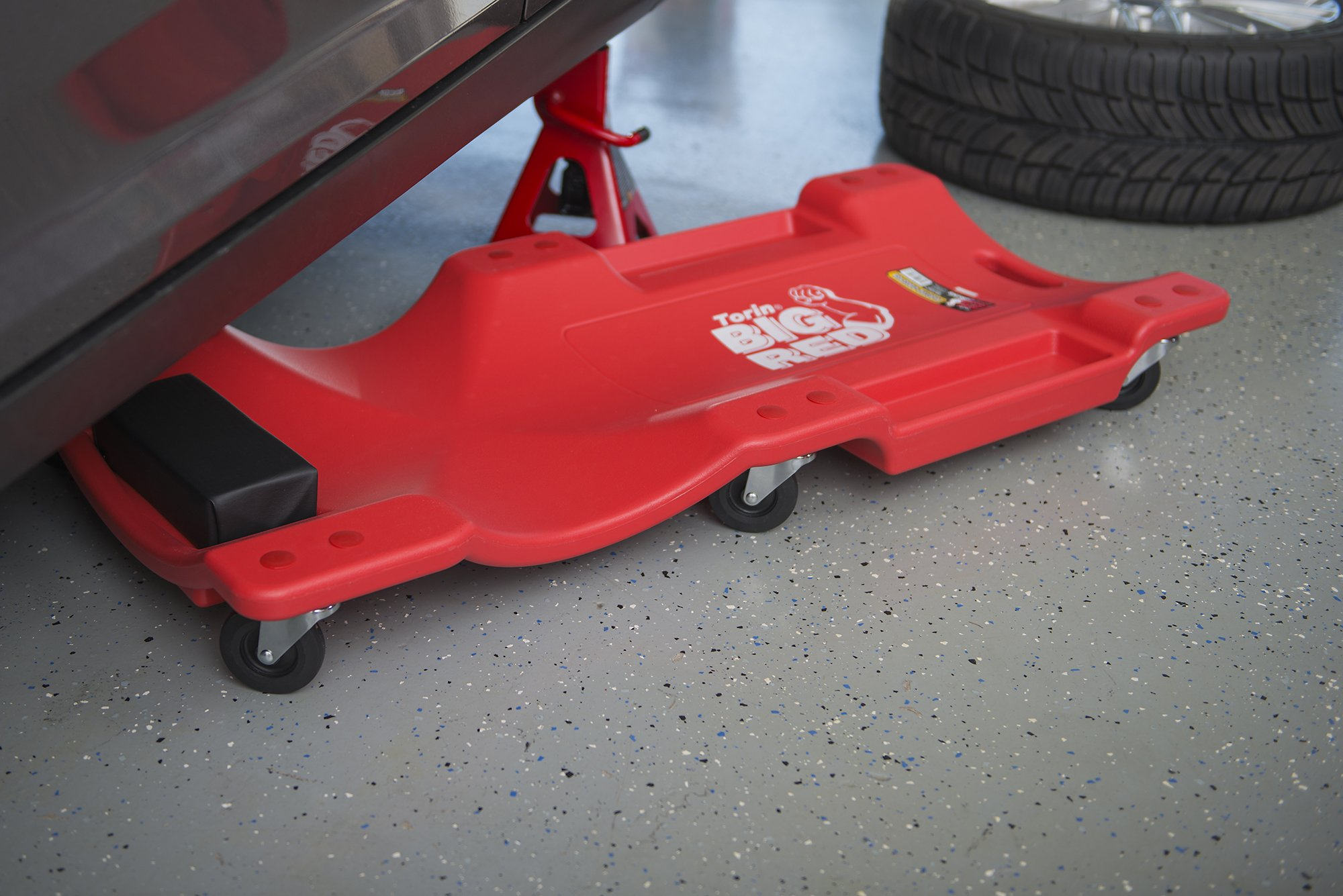 Torin Big Red Rolling Garage/Shop Creeper: 40'' Plastic Mechanic Cart with Padded Headrest, Red by Torin (Image #4)