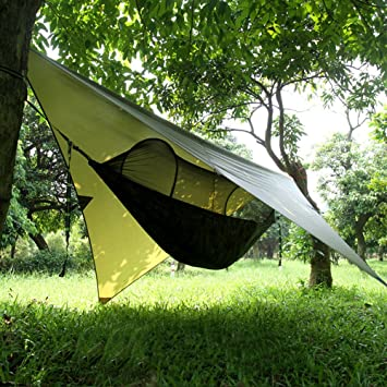 Lovebay C&ing hammocks with Rain Fly and hammocks off the ground tent Hanging bed with & Lovebay Camping hammocks with Rain Fly and hammocks off the ...