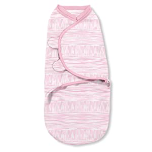 SwaddleMe Natural Position 2-in-1 Swaddle with Easy Change Zipper – Size Small/Medium, 0-3 Months, 1-Pack (Sugar Stripes)