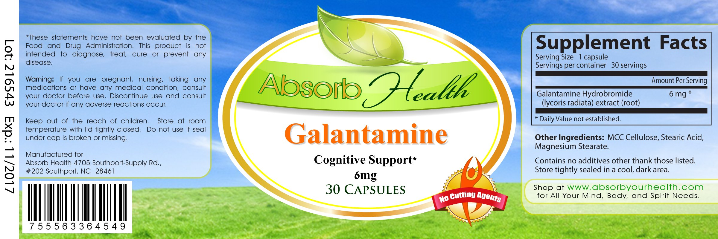 Galantamine | Lucid Dreaming And Cognitive Enhancement Supplement | 30 Capsules 6mg