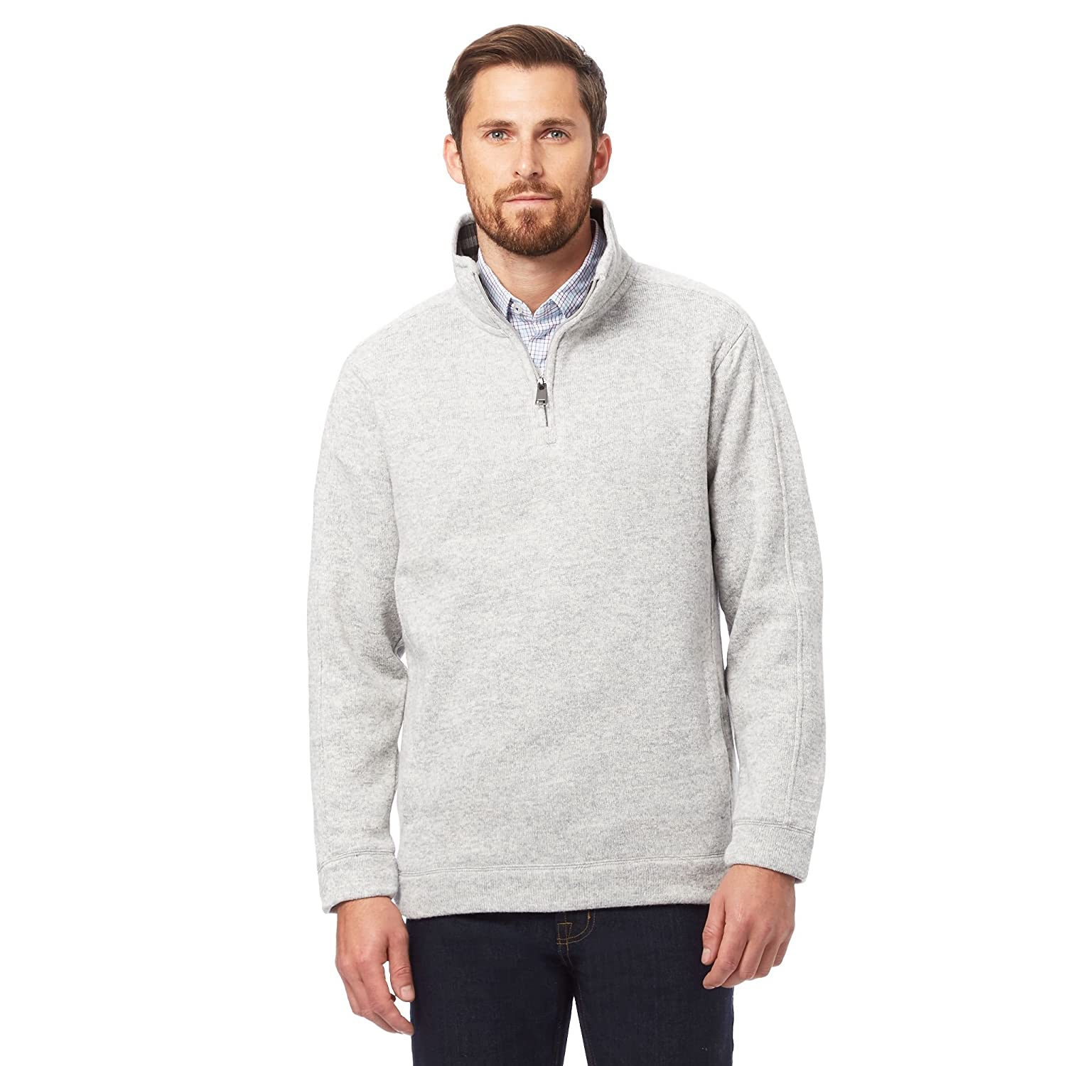 Maine New England Mens Light Grey Funnel Neck Sweater