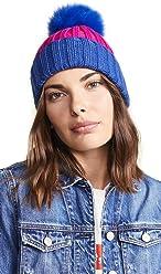 06b7f9d0ecc Adrienne Landau Women s Ribbed Two Tone Hat with Fur Pom