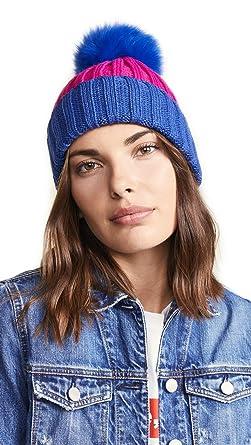 20390a04f06e0b Adrienne Landau Women's Ribbed Two Tone Hat with Fur Pom, Cobalt/Fuchsia,  One