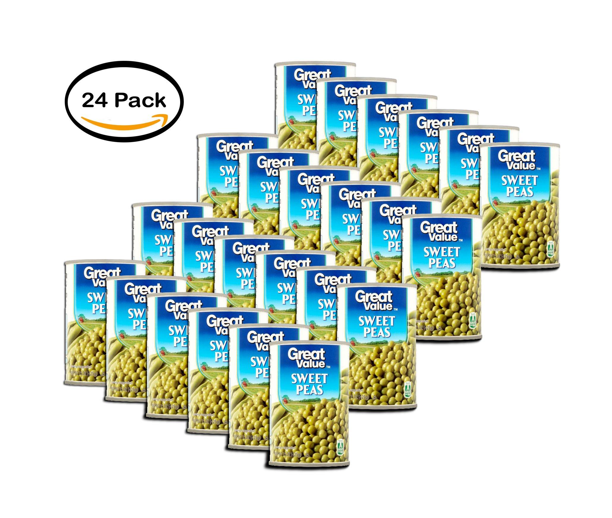 PACK OF 24 - Great Value Sweet Peas, 15 oz