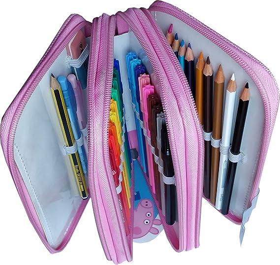 Estuche Peppa Pig Con Tres Compartimentos. Color Rosa.44 Piezas: Amazon.es: Oficina y papelería