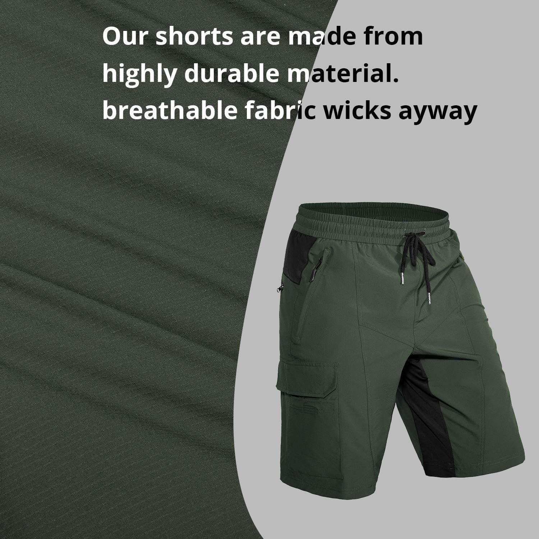 Hiauspor Mens-Mountain-Bike-Shorts MTB Lightweight and Loose-fit