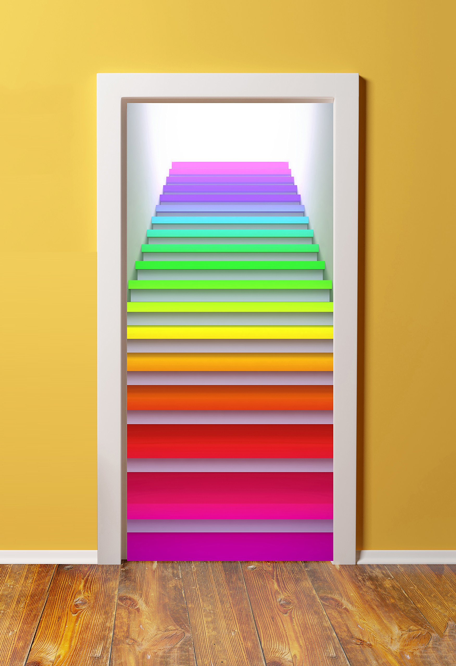 WindowPix 36x80 3D Door (Sticker) Murals - PEEL & STICK - Made from tear-proof, washable, durable material Neon stairs to the future