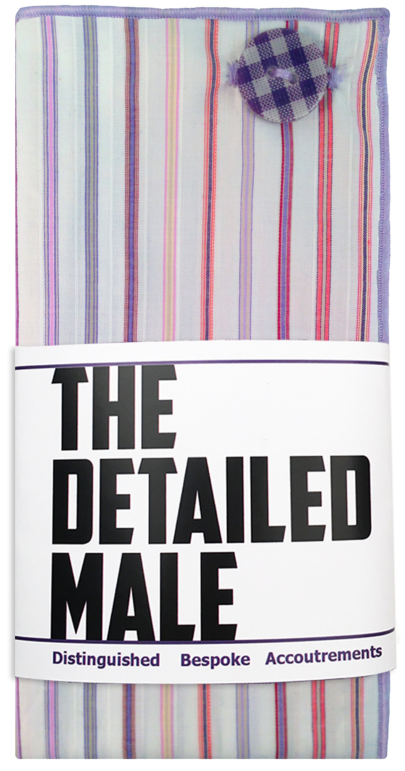 White & Multi Stripe w/Gingham Button Men's Pocket Square by The Detailed Male by The Detailed Male (Image #5)