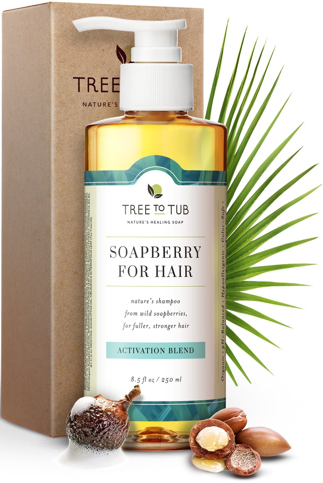 Organic Hair Growth Shampoo-The Only Natural Hair Loss Shampoo that Naturally Activates Hair Follicles with Ayurvedic Soapberry lather & Stimulating Eucalyptus & Tea Tree Oil, 11oz-Tree To Tub