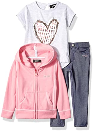 DKNY Girls Toddler 3 Piece Heart T-Shirt, Hoodie Pant Set, Pink
