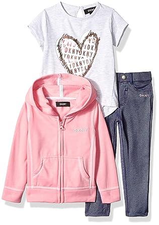 DKNY Girls Toddler 3 Piece Heart T-Shirt, Hoodie Pant Set, Pink