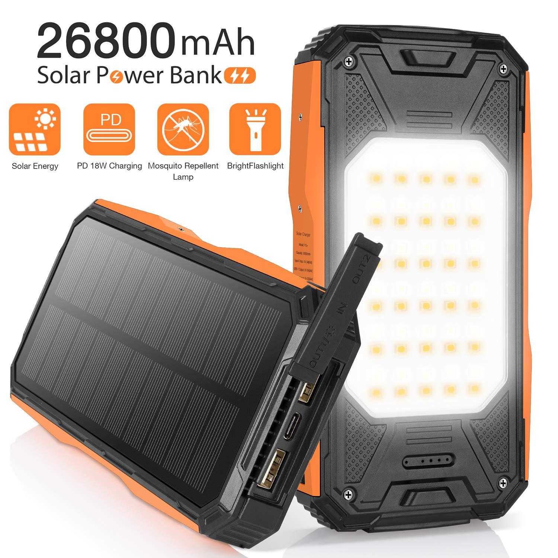 Sendowtek Cargador Solar Móvil 26800mAh Power Bank Batería ...