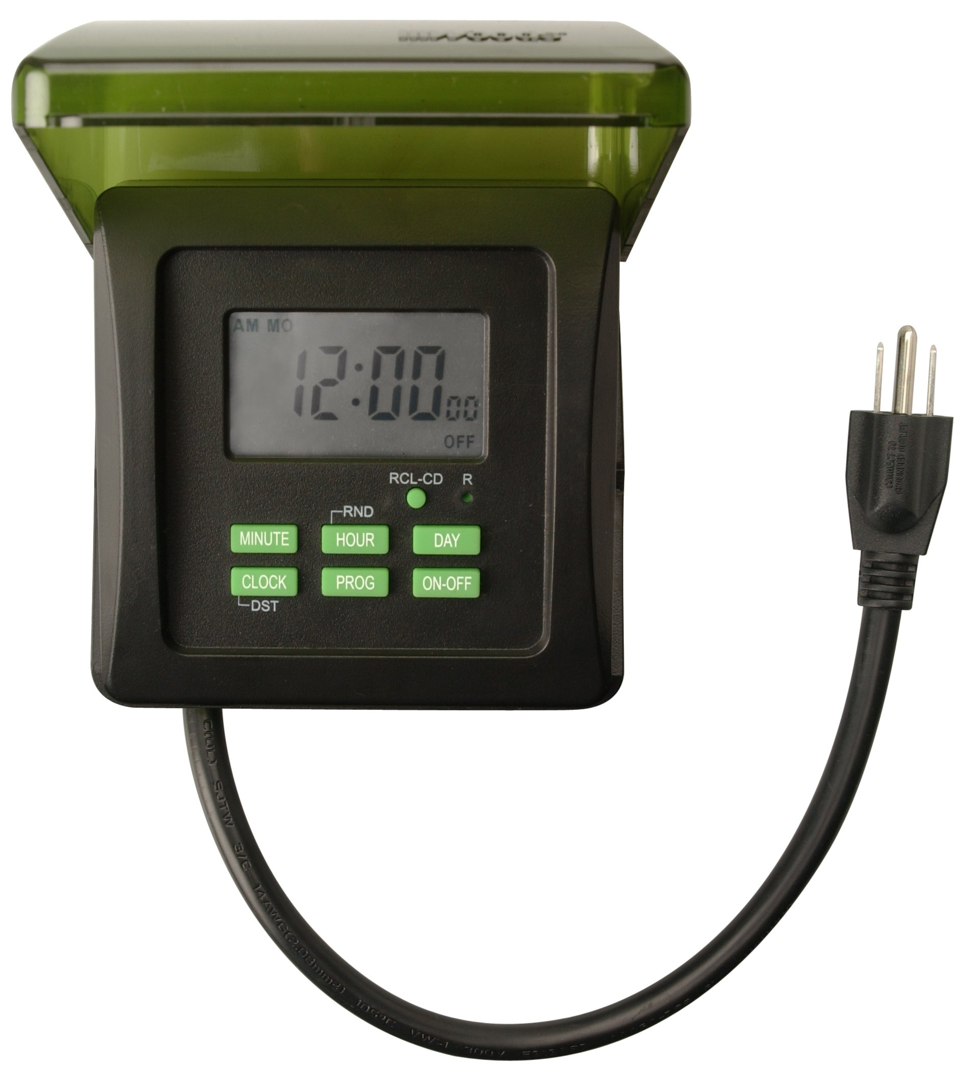 Woods 50015WD Outdoor 7-Day Heavy Duty Digital Plug-In Timer, 2 Grounded Outlets