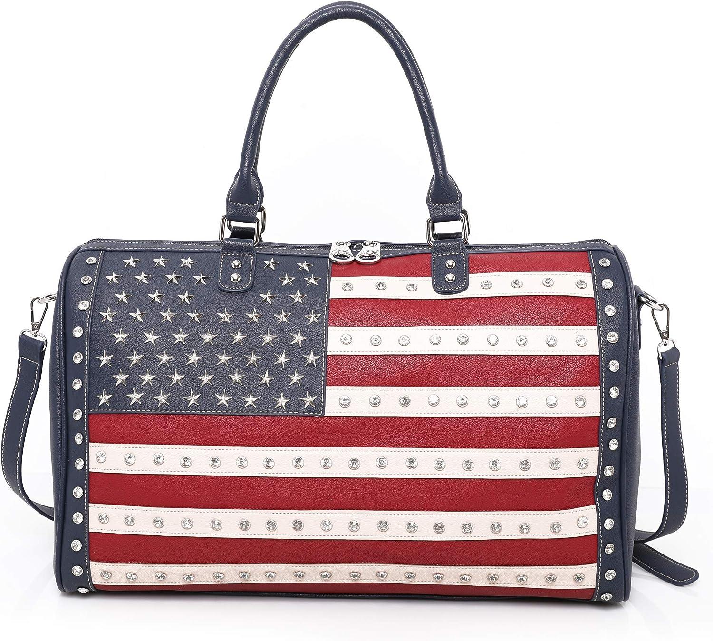 "MONTANA WEST American Flag Canvas Tote Handbag 933-8112BK 16.5/"" x 5.5/"" x 12.5/"""