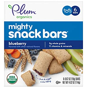 Plum Organics Mighty Snack Bars for Toddlers, Blueberry Fruit Snack Bar, 4 Ounce Box (Pack of 8)