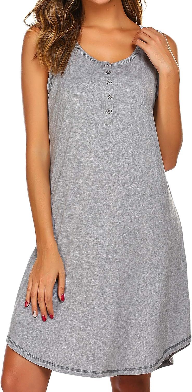 Sexyfree Maternity Gown Womens Sleeveless Nursing Nightwear Button Up Hospital Nightdress S-XXL