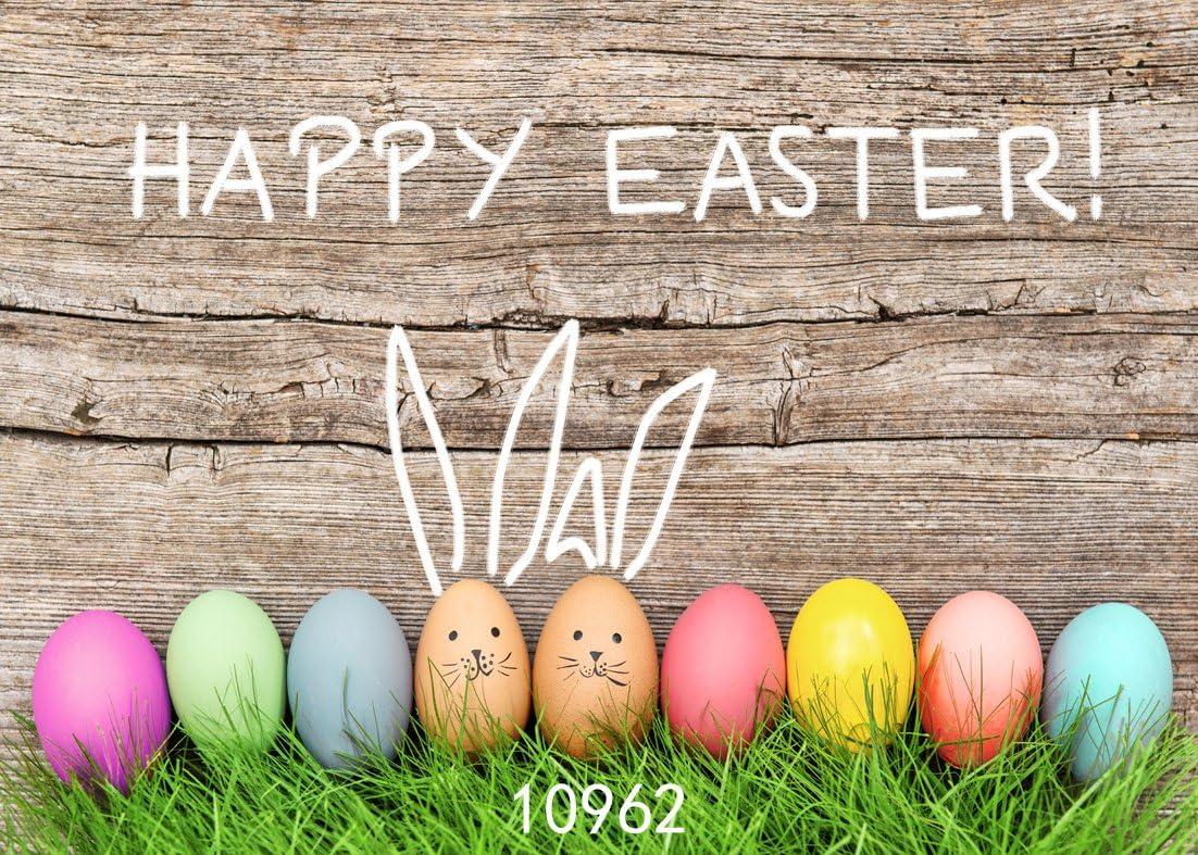 WOLADA 5x7ft Easter Egg Theme Vinyl Photography Backdrop Wood Floor Photo Background Studio Prop 10951