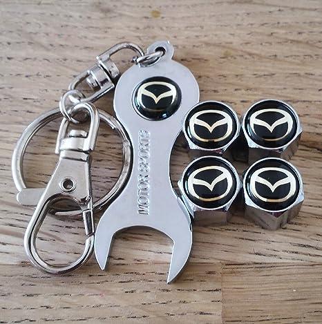 Eurotech Mazda Tapacubos polvo para válvulas Diseño Exclusivo con cromo llave llavero cabe todos los modelos