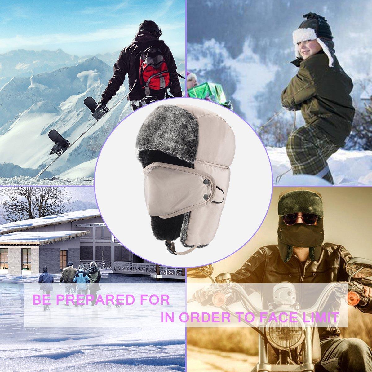 mysuntown Trooper Winter Hat Ushanka Skiing Hunting Hat Unisex Style with  Warm Ear Flap Fur Winderproof Hat ebe6ba788836