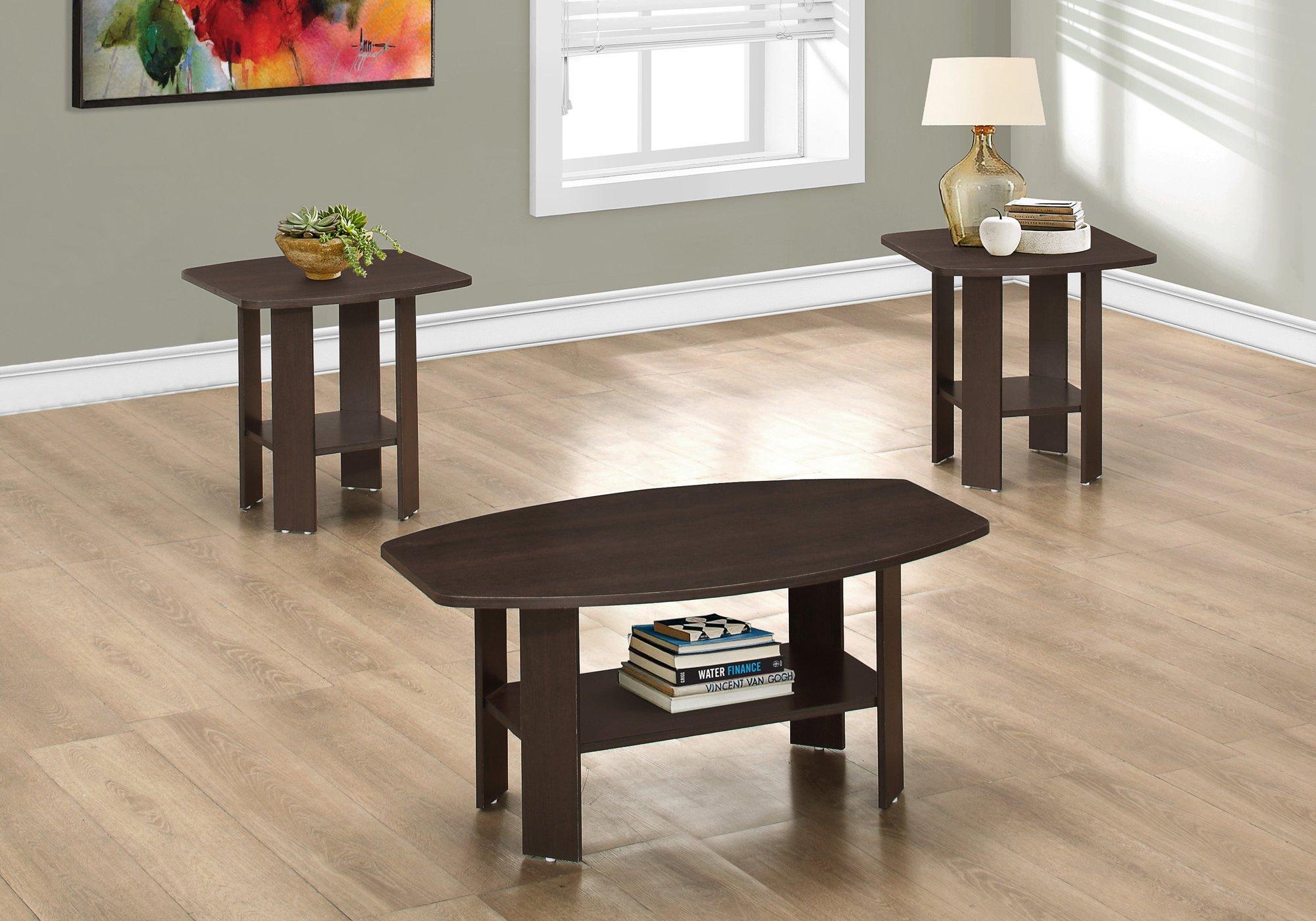 Monarch 3 Piece Table Set, Cappuccino by Monarch Specialties