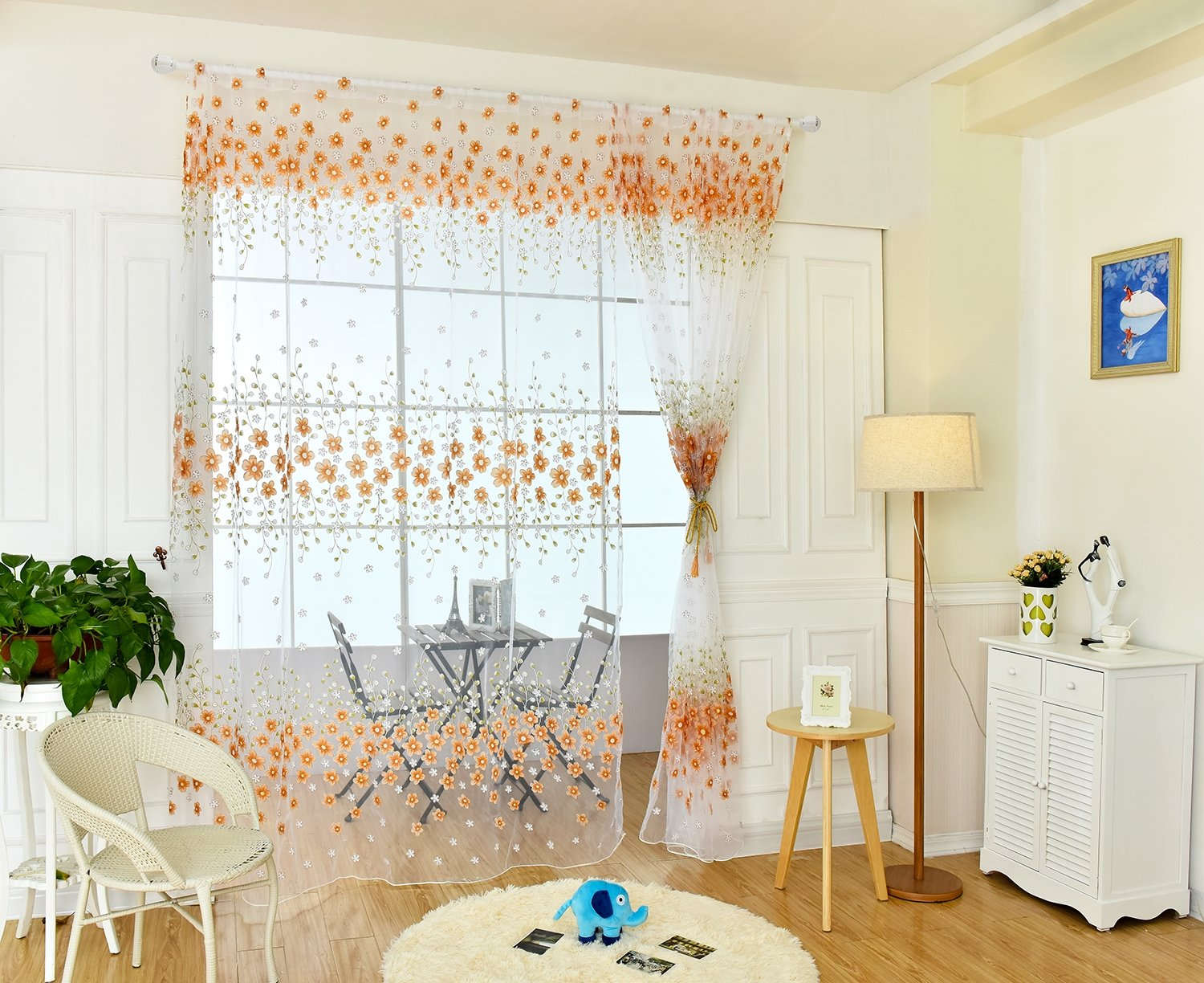 fa621fbfdef AGAING Sheer Curtains Panel Rod Pocket Headings Voile Window Panel For  Bedroom