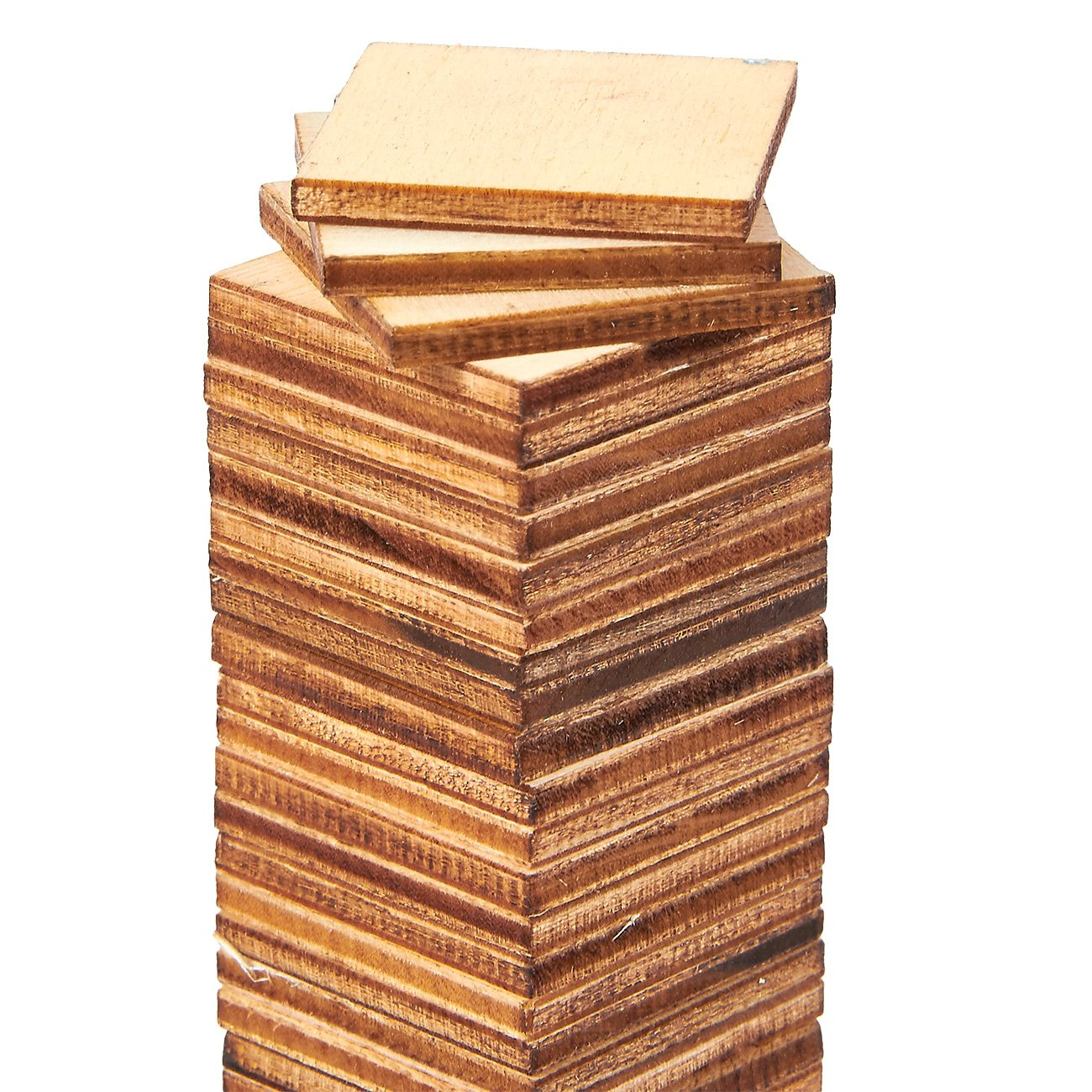 1 x 1 inches Natural Rustic Craft Wood for Home Decoration DIY Supplies Unfinished Wood Pieces 100-Pack Wooden Squares Cutout Tiles