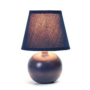 Simple Designs Home LT2008-BLU Simple Designs Mini Ceramic Globe Table Lamp 8.78 x 5.55 x 5.55 Blue