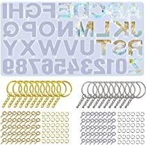 Alphabet Resin Molds Backward Keychain Resin Mold DIY Sugar Cake Craft with Jump Rings Epoxy Resin Molds for Casting Keychain Pendant Screw Eye Pins Letter Number Silicone Molds for Resin