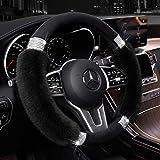 Achiou Fluffy Steering Wheel Cover for Women, Universal Rhinestone Bling Comfortable Non-Slip Luxurious Faux Wool & Glam Vehi