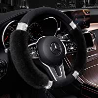 Achiou Fluffy Steering Wheel Cover for Women, Universal Rhinestone Bling Comfortable Non-Slip Luxurious Faux Wool & Glam…